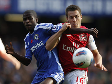 Chelsea's Ramires challenges Arsenal's Aaron Ramsey during their English Premier League game. Reuters