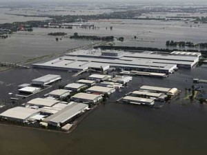 An aerial view of a flooded Honda car factory in Thailand