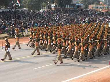 A marching CISF contigent. Image courtesy PIB