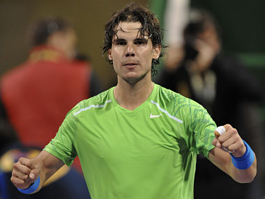 Nadal of Spain reacts after winning against Youzhny of Russia during their ATP Qatar Open tennis tournament in Doha. Reuters