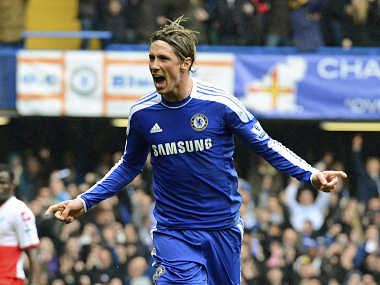 Chelsea's Torres celebrates scoring during the English Premier League soccer match in London. Reuters