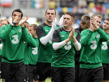 Ireland's team applaud their supporters as they run on the pitch during a training session at Gdynia municipal stadium. Reuters