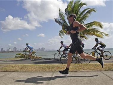 Armstrong of the U.S. runs during the Ironman Panama 70.3 triathlon in Panama City. Reuters