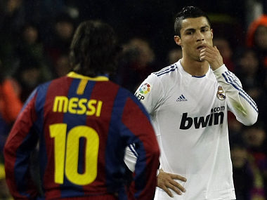 File picture of Real Madrid's Cristiano Ronaldo and Barcelona's Messi. Reuters