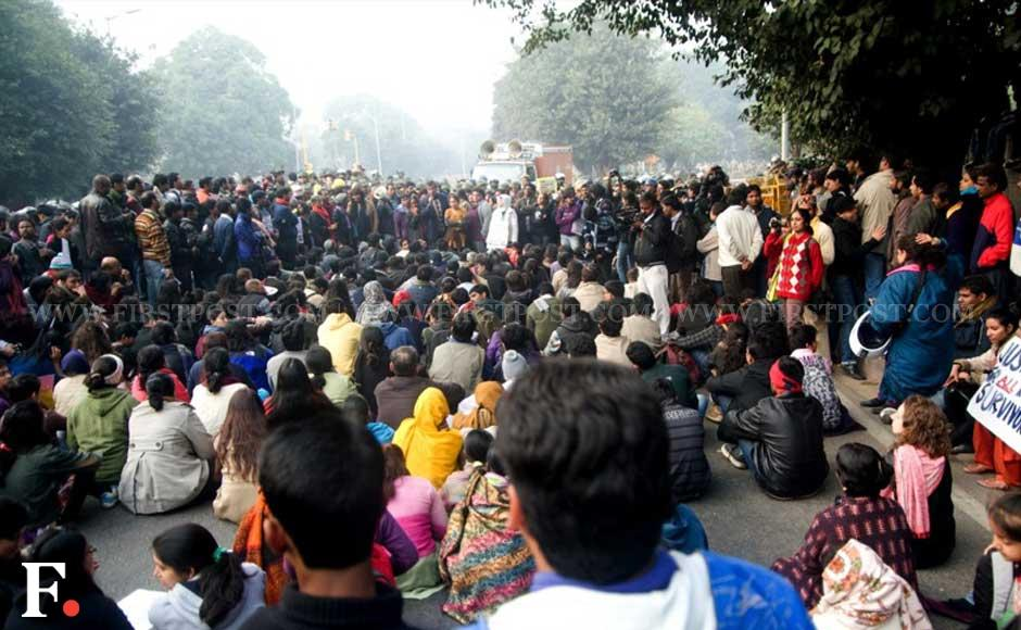 Images: India Gate cordoned off as hundreds march for women's rights