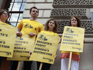 Group protests against Vedanta mine near embassy in London