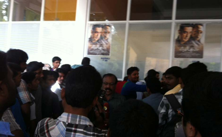 Kamal Hassan's controversy-ridden, film Vishwaroopam releasing in today 60 odd B and C-grade theatres in Kerala. Fans line up outside the Kairali / Sree Theatre complex in Thiruvananthapuram. G Pramod Kumar/Firstpost