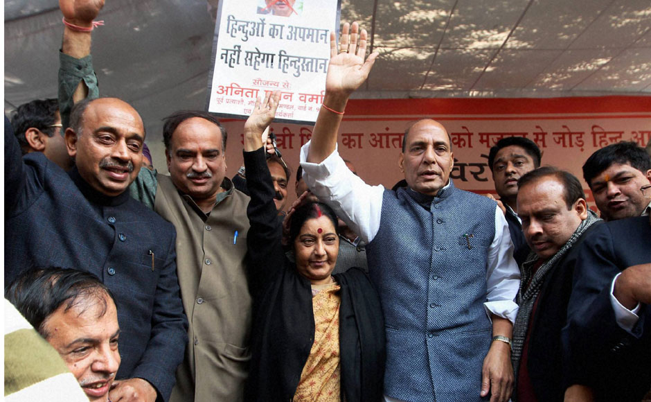 Leader of Opposition Sushma Swaraj and Rajnath Singh along with other party leaders in Jantar Mantar, New Delhi on Thursday. PTI