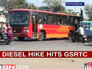 Petrol price hike hits the GSRTC buses. IBNLive.