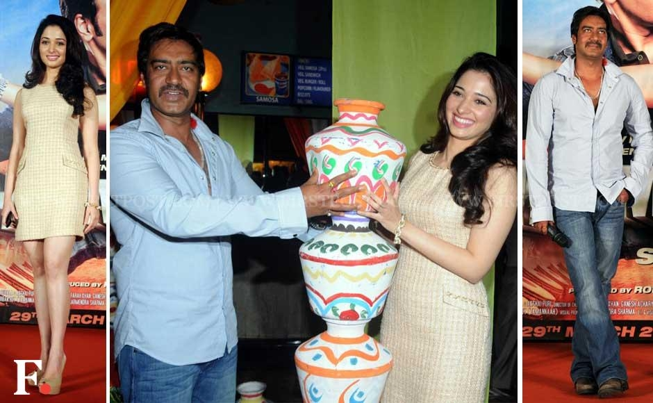 Tamil actress Tamannaah and Ajay Devgn at the trailer launch of Himmatwala. Sachin Gokhale/Firstpost