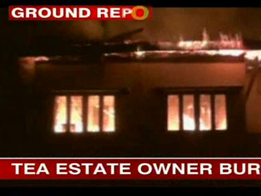Screengrab from an amateur video sourced by CNNIBN that shows the building being burnt. IBNLive.
