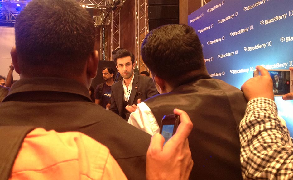 Ranbir Kapoor at the launch of the BlackBerry 10 device.