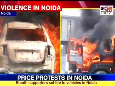 Image of the violence in Noida: CNN-IBN