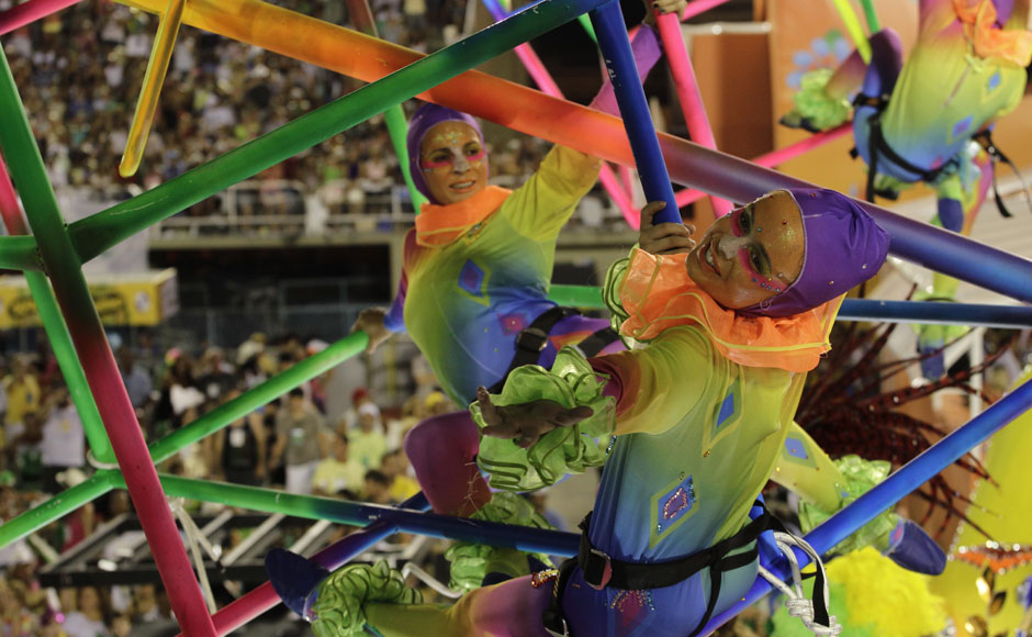 Performers from the Academicos do Grande Rio samba school parade during carnival celebrations at the Sambadrome in Rio de Janeiro on Tuesday. AP