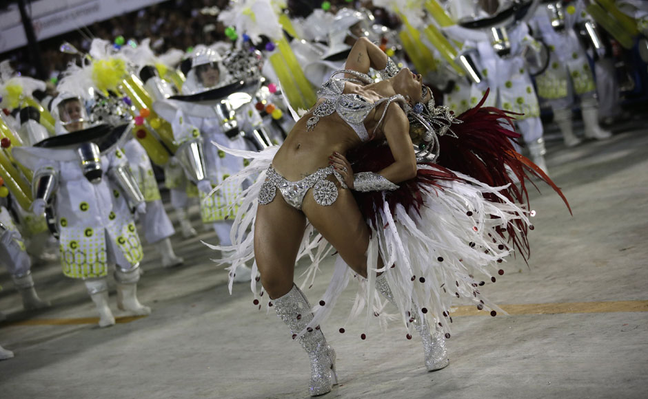 A dancer from Academicos do Grande Rio samba school at the carnival. AP