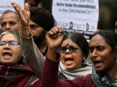 Protests in Delhi against the ordinance passed by the government to tackle crimes against women. AP