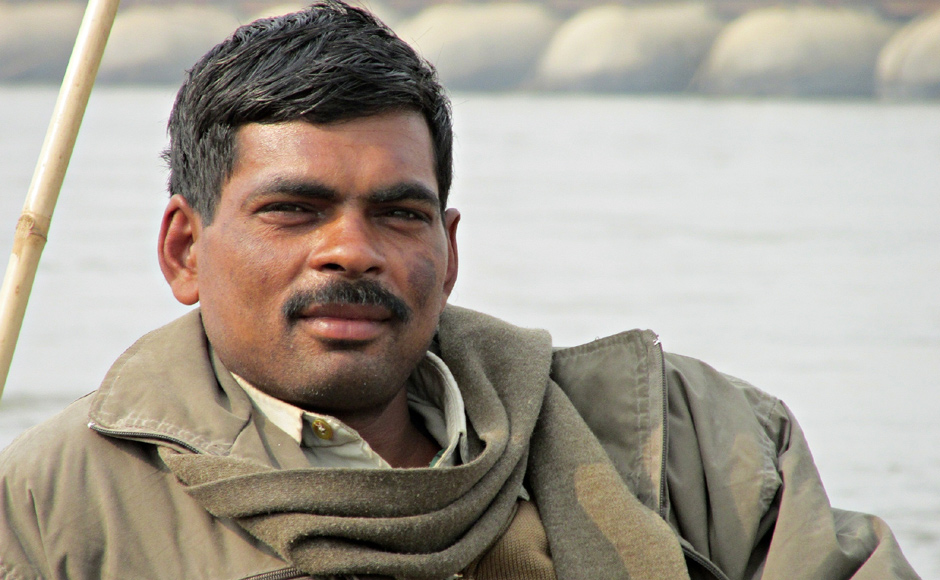 Rajesh Yadav is a constable with Uttar Pradesh police. Yadav is a trained swimmer and is one of the many life guards deployed at the banks of river Ganga at Maha Kumbh, 2013. Danish Raza/ Firstpost