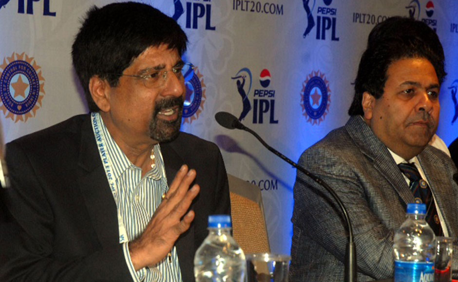 Krishnamachari Srikkanth and IPL chief Rajeev Shukla at the 2013 IPL auctions. Firstpost