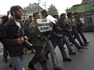 File image of a protest held by journalists in Kashmir. Reuters