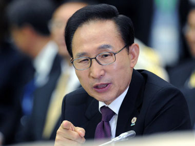 Lee Myung-bak will leave office next Monday. AFP