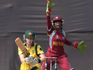 Merissa Aguilleira appeals for an LBW decision. ICC/Solaris Images