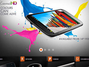 Microxmax Canvas HD release date. Screen from Micromax website.
