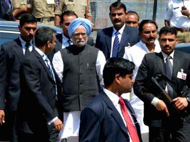 Prime Minister Manmohan Singh in Hyderabad on Sunday. PTI