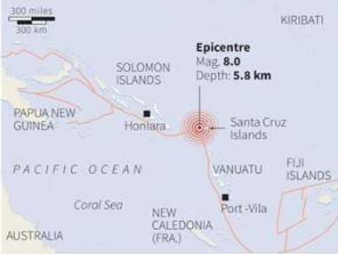 A map showing the epicentre of the quake: Reuters