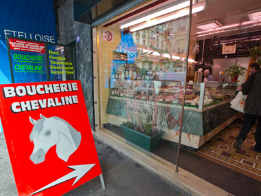 The outside of a butchers where horsemeat is available, in Paris. AP
