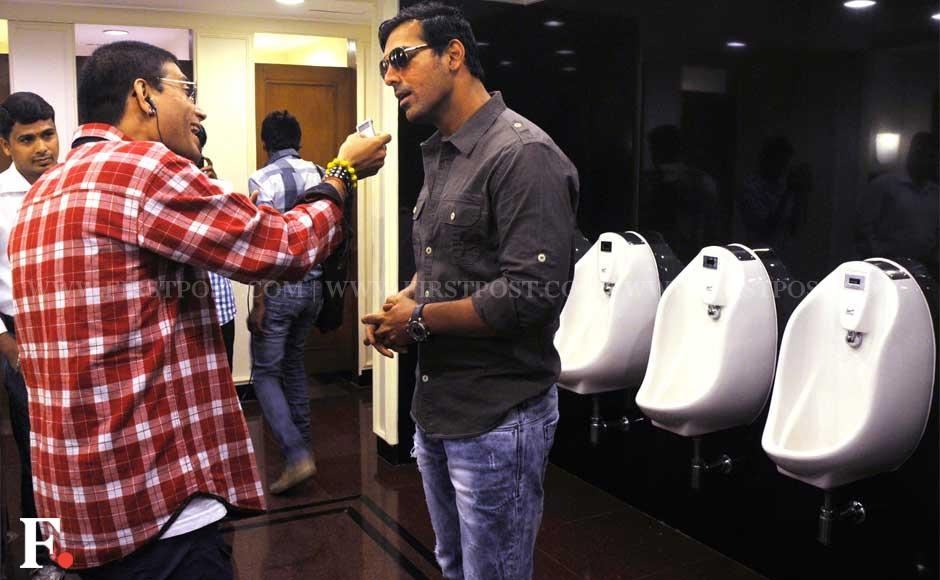 Images: John Abraham goes to press con, gets interviewed in loo!