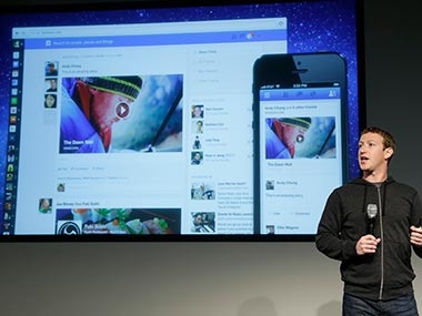 Mark Zuckerberg shows off the redesigned News Feed. AP