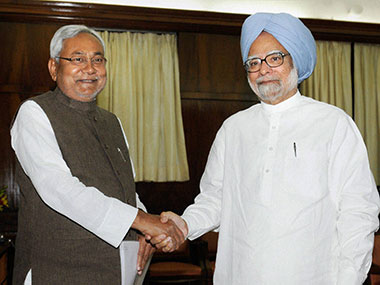 Nitish Kumar with Manmohan Singh during his Delhi visit. PTI