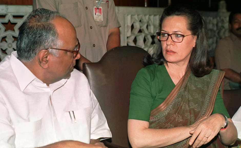 Senior Congress leader Sharad Pawar with Sonia Gandhi in happier times. Pawar, PA Sangma and  Sharad Pawar, P. A. Sangma and Tariq Anwar contested the right of Italian-born Sonia Gandhi to lead the party. Sonia offered to resign, was persuaded to stay and the three leaders were expelled instead. Reuters