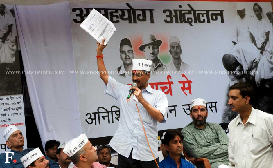 Arvind Kejriwal begins his indefinite fast in Sunder Nagar in New Delhi on Saturday. Naresh Sharma/ Firstpost