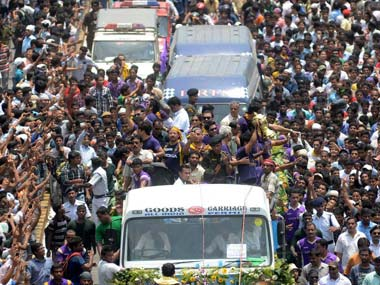 KKR's victory procession drew tens of thousands in Kolkata last year. AFP