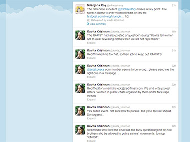Screengrab of Kavita Krishnan's twitter feed where she has also posted about the Rediff incident.