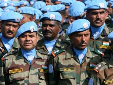 Indian Army soldiers before their departure to South Sudan. AFP