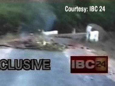 The site of the Maoist ambush on Friday night. TV screengrab