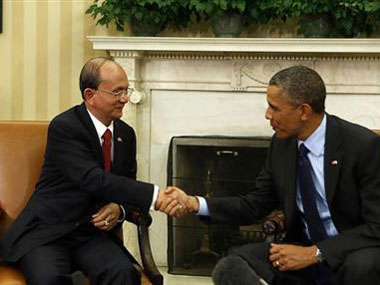 US President Barack Obama shakes hands with Myanmar's President Thein Sein in the Oval Office at the White House in Washington. Reuters