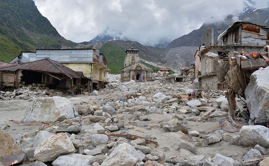 The Kedarnath Temple (C) is pictured amid damaged surroundings by flood waters at Rudraprayag in the Himalayan state of Uttarakhand. Reuters