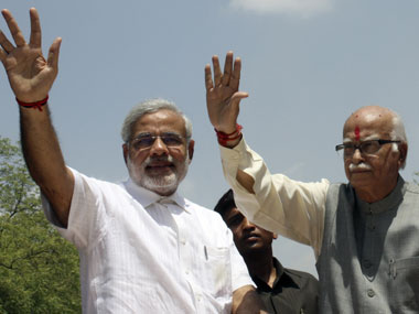 Gujarat CM Narendra Modi and veteran leader LK Advani