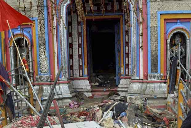 Bodies of flood hit pilgrims lying near Kedarnath shrine, one of the holiest of Hindu temples dedicated to Lord Shiva, after heavy rains in Uttarakhand on Thursday. PTI