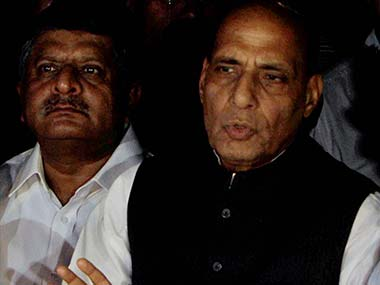 BJP President Rajnath Singh speaks to media after Party's parliamentary board meeting at his residence. PTI
