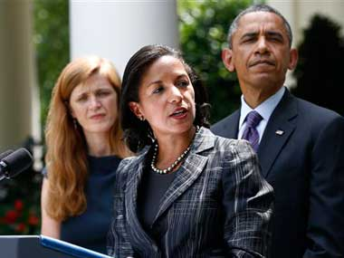 Susan Rice with Obama at the White House after being announced as the next NSA. AP