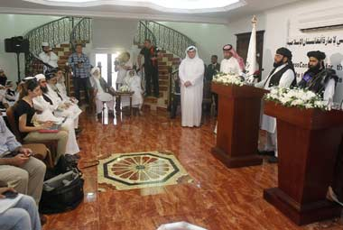 Taliban leaders at the inauguration of the Taliban political office in Doha. Reuters