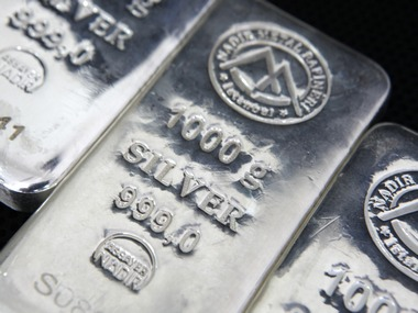 Bars of 1000 gram silver are seen in this picture illustration at a precious metal refinery in Istanbul