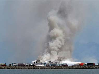 The plane shortly after it crashed in San Francisco: AP