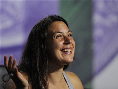 Marion Bartoli of France speaks at a news conference after winning the Women's singles final. AP