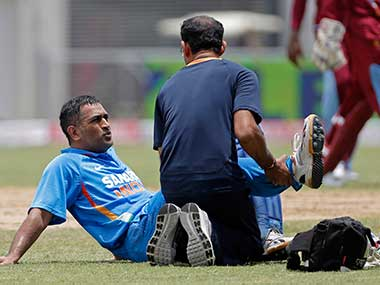 Dhoni when he was injured during the ongoing Tri-Series in Sri Lanka. AP
