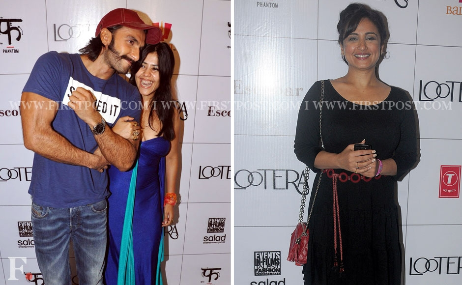 Ranveer Singh and Ekta Kapoor with Divya Dutta at the success party of Lootera. Sachin Gokhale/Firstpost